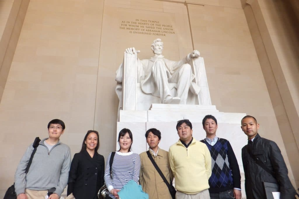 Group in front of the Lincoln Memorial in Washington DC