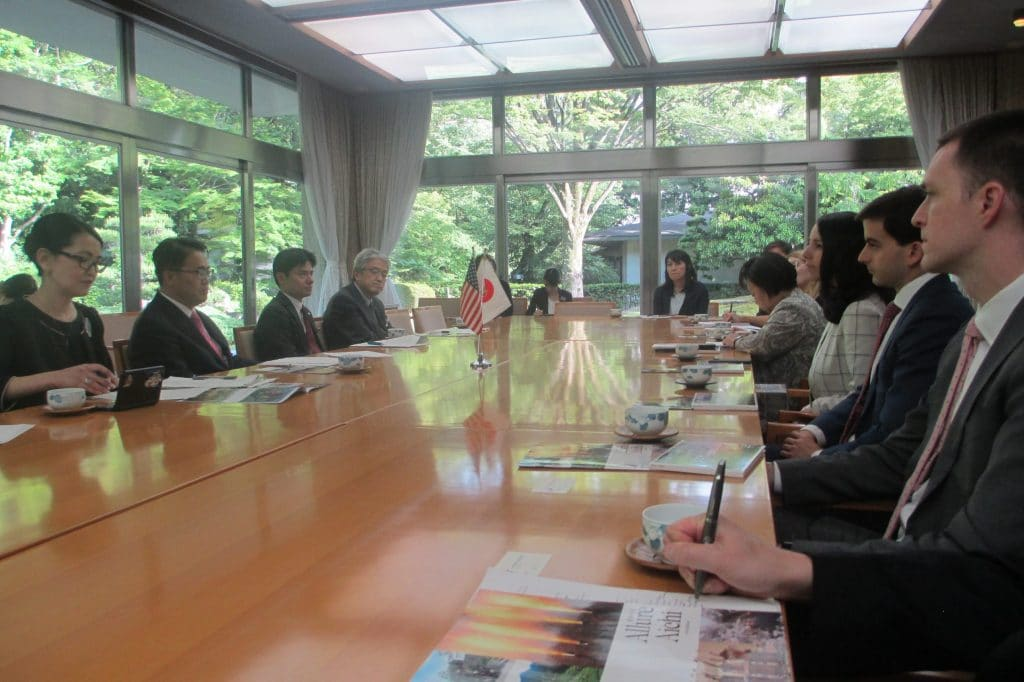 Staff meet with the Governor of Aichi Prefecture, Hideaki Ohmura, and other prefectural officials
